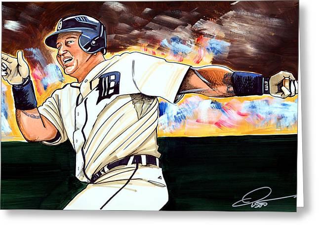 Fox Baseball Greeting Cards - Miguel Cabrera  Greeting Card by Dave Olsen