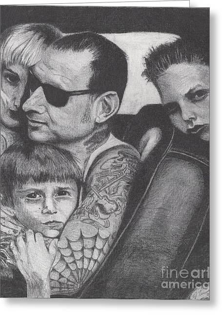 Distortion Drawings Greeting Cards - Mike Ness Greeting Card by Jeff Ridlen