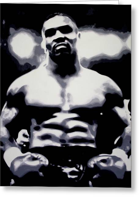 Knockout Greeting Cards - Mike Tyson Greeting Card by Luis Ludzska