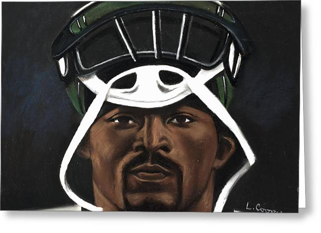 Football Pastels Greeting Cards - Mike Vick Greeting Card by L Cooper