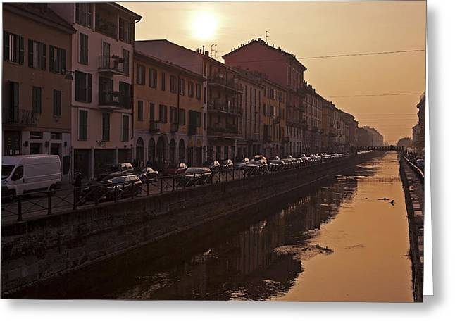 Sewer Greeting Cards - Milan Naviglio Grande Greeting Card by Joana Kruse