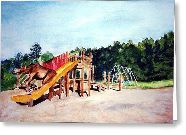Stella Sherman Greeting Cards - Mildred Goes Down the Slide Greeting Card by Stella Sherman
