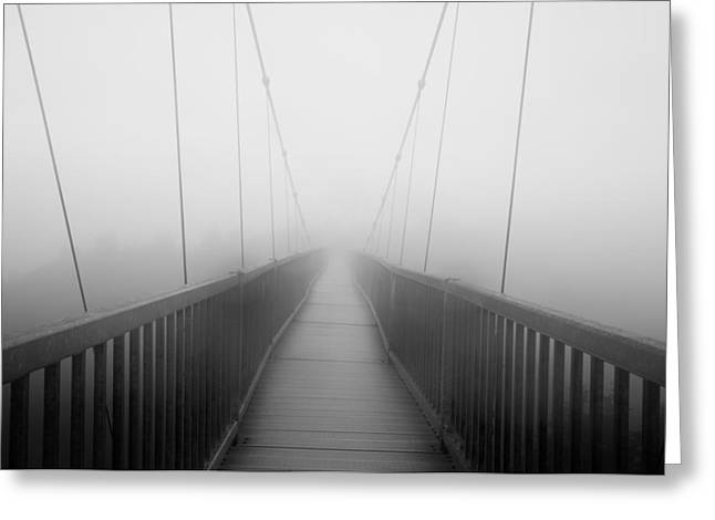 Foggy Bridge Greeting Cards - Mile High Swinging Bridge - NC Scenic at Grandfather Mountain Greeting Card by Rob Travis