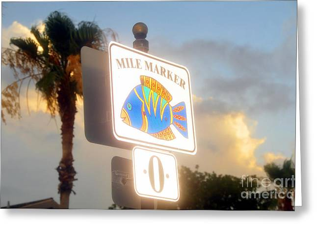 Mile Marker Greeting Cards - Mile marker zero Greeting Card by David Lee Thompson