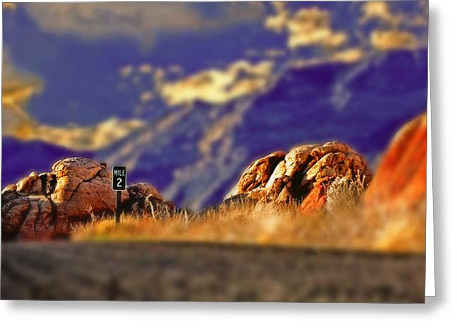 Mile Marker Greeting Cards - Mile Two Red Rock Greeting Card by Chris Brannen