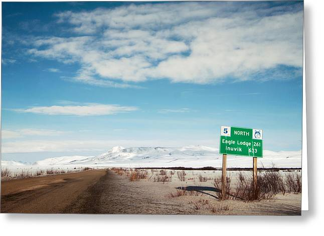 Huskies Photographs Greeting Cards - Milepost at the Dempster Highway Greeting Card by Priska Wettstein