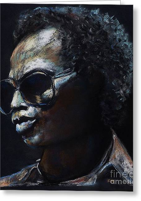 Horns Pastels Greeting Cards - Miles Davis Greeting Card by Frances Marino