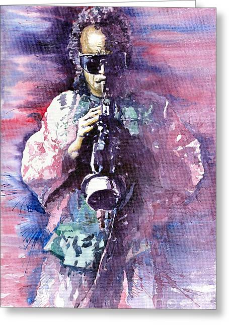 Trumpeters Greeting Cards - Miles Davis Meditation 2 Greeting Card by Yuriy  Shevchuk