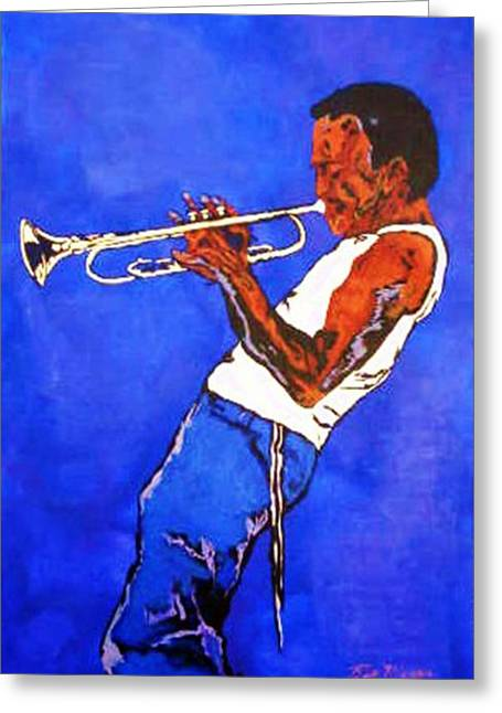 Etc. Paintings Greeting Cards - Miles Davis-Miles and Miles Away Greeting Card by Bill Manson