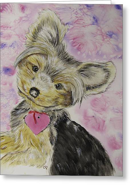 Yorkshire Terrier Watercolor Greeting Cards - Miley Greeting Card by Carol Blackhurst