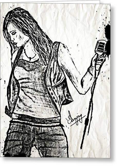 Oil Lamp Drawings Greeting Cards - Miley Cyrus says Let the Music Begin Greeting Card by Sanjay Avasarala