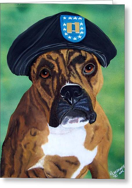 Boxer Greeting Cards - Military Boxer Greeting Card by Debbie LaFrance