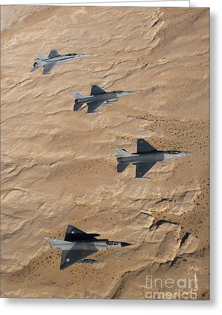 F-18 Greeting Cards - Military Fighter Jets Fly In Formation Greeting Card by Stocktrek Images