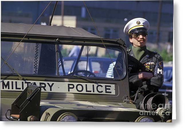 Military Policeman Stands Next Greeting Card by Michael Wood