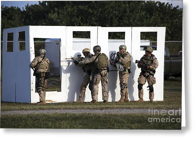 Military Reserve Members Prepare Greeting Card by Michael Wood