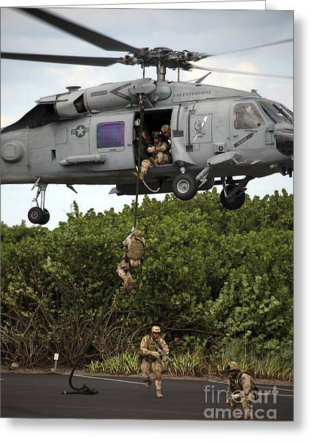 Fast-roping Greeting Cards - Military Reserve Navy Seals Demonstrate Greeting Card by Michael Wood