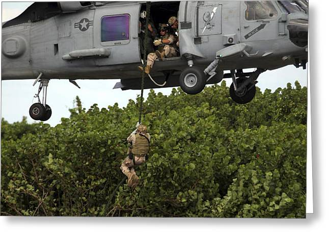 Military Reserve Navy Seals Demonstrate Greeting Card by Michael Wood