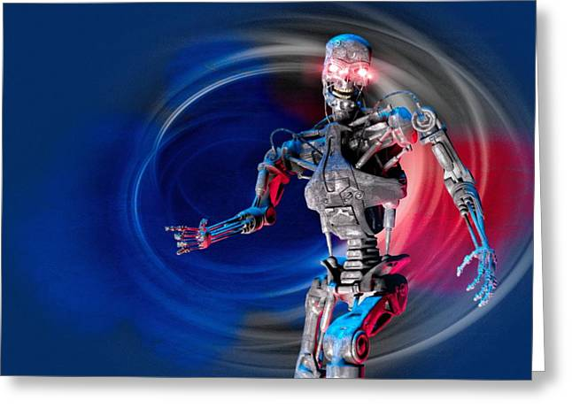 Military Robot, Artwork Greeting Card by Victor Habbick Visions