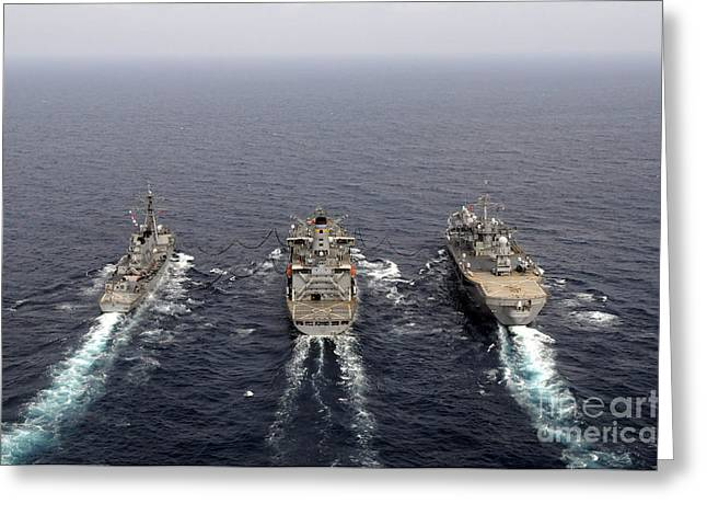 Underway Greeting Cards - Military Ships Conduct An Underway Greeting Card by Stocktrek Images