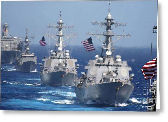Strike Group Greeting Cards - Military Ships In Formation At Sea Greeting Card by Stocktrek Images