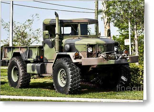Army Photographs Greeting Cards - Military truck Greeting Card by Blink Images