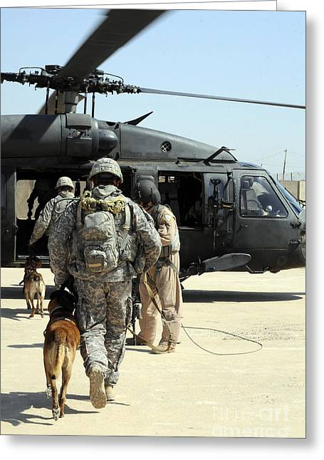 Iraq Greeting Cards - Military Working Dog Handlers Board Greeting Card by Stocktrek Images