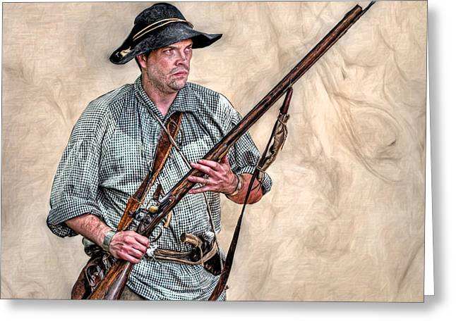 Seven Years War Greeting Cards - Militia Ranger Scout Portrait Greeting Card by Randy Steele