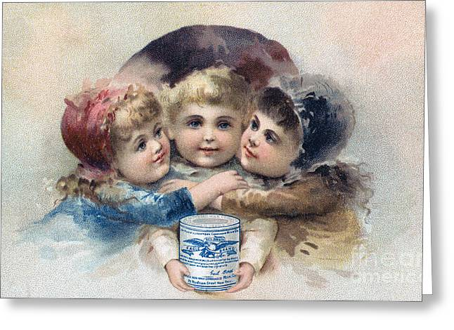 Trade Card Greeting Cards - MILK TRADE CARD, c1880 Greeting Card by Granger