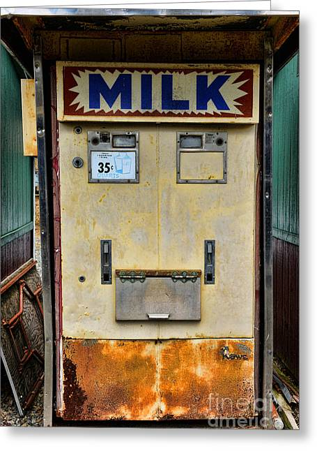 Vending Machine Photographs Greeting Cards - Milk vending machine Greeting Card by Paul Ward