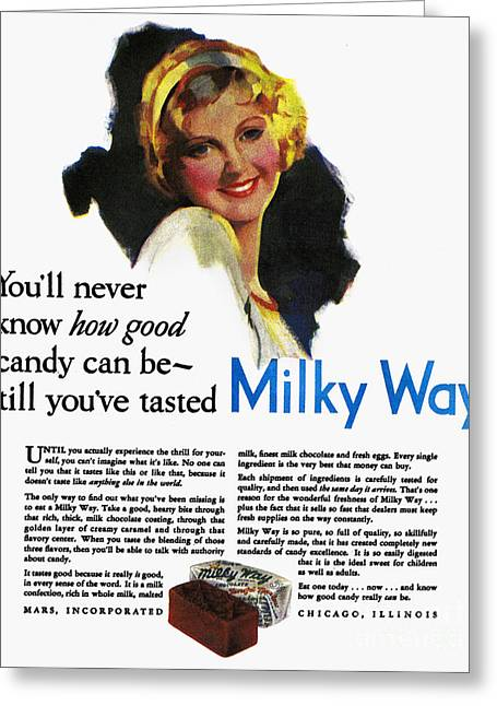 Incorporated Greeting Cards - Milky Way Ad, 1931 Greeting Card by Granger