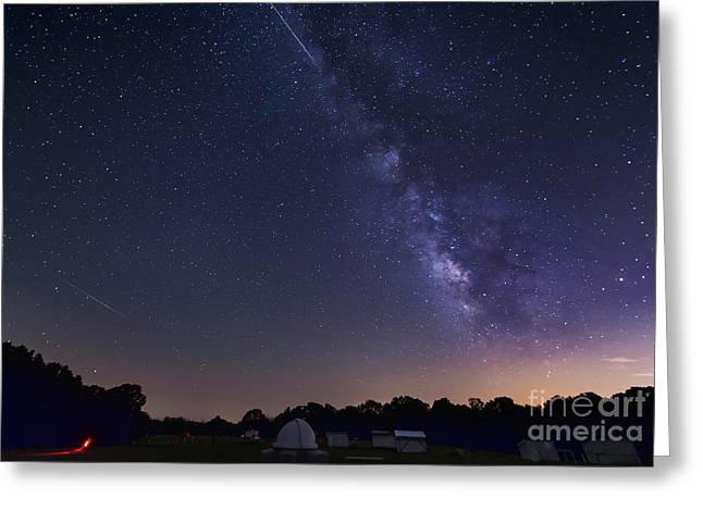Perseid Meteor Shower Greeting Cards - Milky Way And Perseid Meteor Shower Greeting Card by John Davis