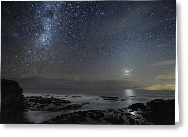 Moonlit Night Greeting Cards - Milky Way Over Cape Schanck, Australia Greeting Card by Alex Cherney, Terrastro.com