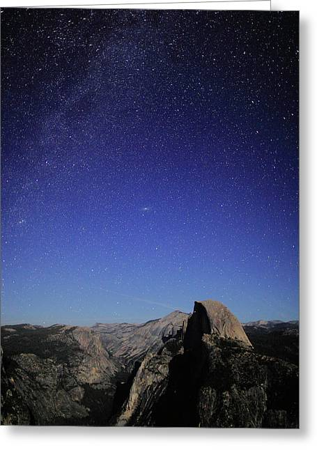 Half Dome Greeting Cards - Milky Way Over Half Dome Greeting Card by Rick Berk