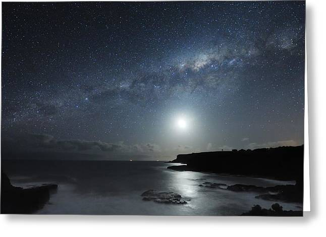 Moonlit Night Greeting Cards - Milky Way Over Mornington Peninsula Greeting Card by Alex Cherney, Terrastro.com