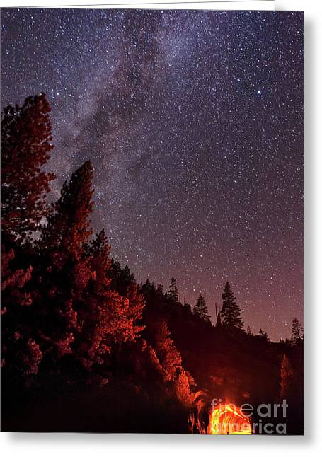 Mountain Road Greeting Cards - Milky Way Over Mountain Tunnel Greeting Card by John Davis