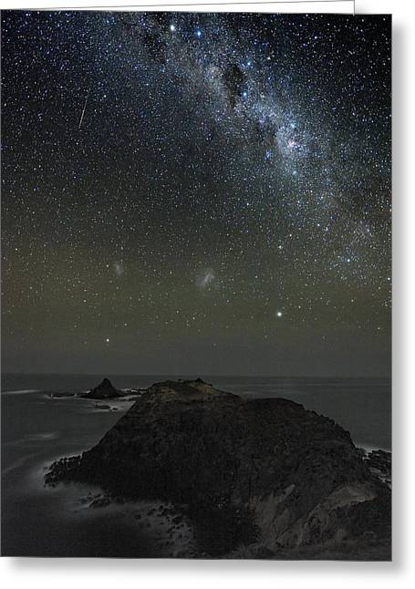 Moonlit Night Greeting Cards - Milky Way Over Phillip Island, Australia Greeting Card by Alex Cherney, Terrastro.com