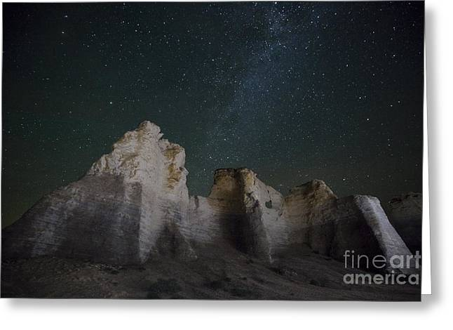Civilization Greeting Cards - Milky Way over the Chalk Pyramids Greeting Card by Keith Kapple