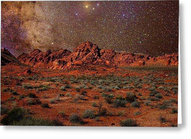 Astrophotogrpahy Greeting Cards - Milky Way Rising over the Valley of Fire Greeting Card by Charles Warren