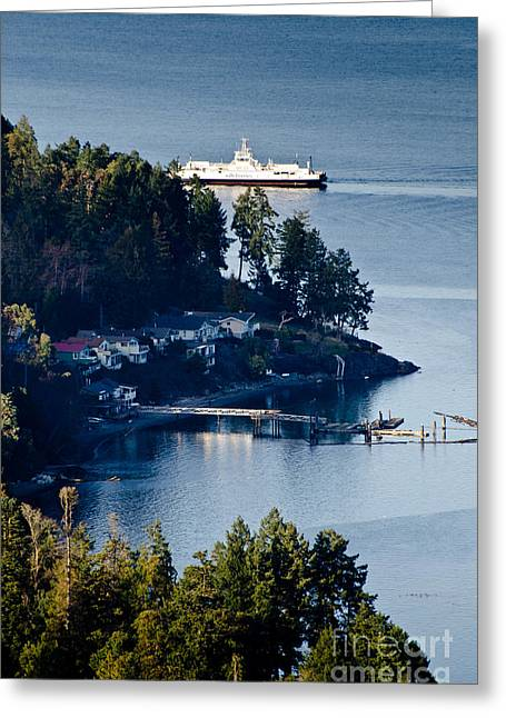 Sandy Greeting Cards - MILL BAY ferry passing sandy beach rd vancouver island BC canada Greeting Card by Andy Smy