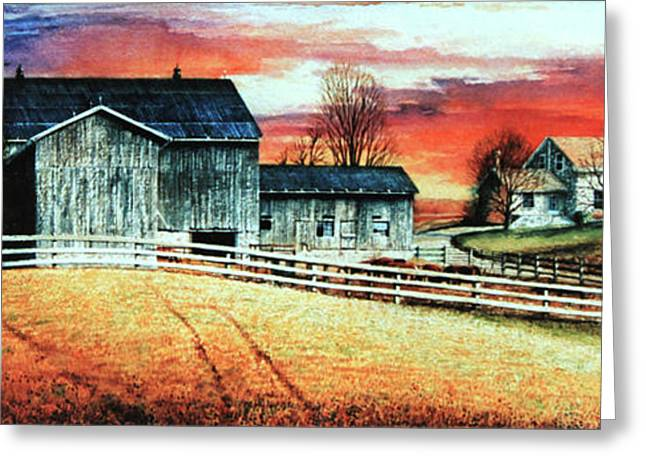 Wheat Field Sunset Print Greeting Cards - Mill Creek Farm Greeting Card by Hanne Lore Koehler