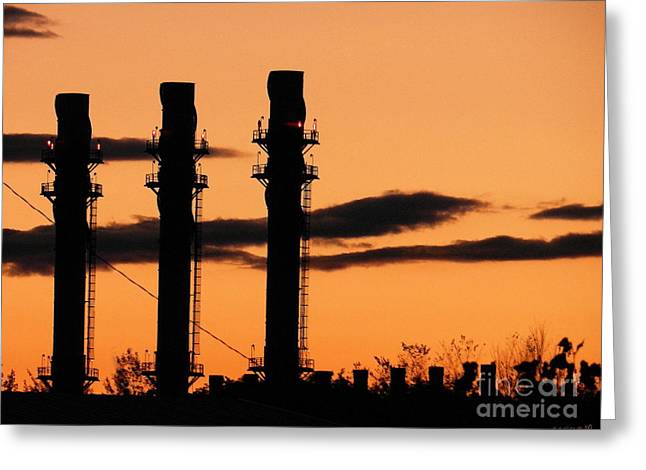 Power Plants Greeting Cards - Mill Town Greeting Card by Linda Galok