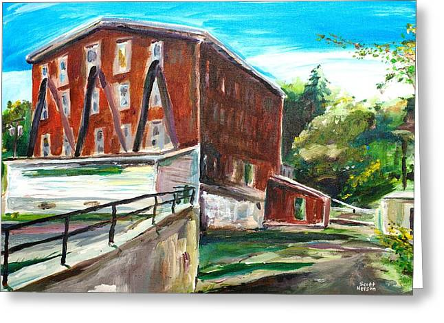 Scott Nelson And Son Paintings Greeting Cards - Millbury Mill Greeting Card by Scott Nelson