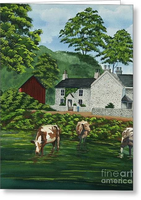 Stone House Paintings Greeting Cards - Milldale In Staffordshire Greeting Card by Charlotte Blanchard
