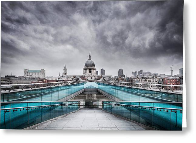Gray Sky Greeting Cards - Millenium Bridge London Greeting Card by Martin Williams