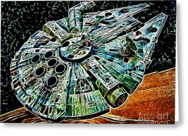 Star Alliance Greeting Cards - Millenium Falcon Greeting Card by Paul Ward