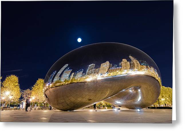 Moon Greeting Cards - Millennium Park - Chicago IL Greeting Card by Drew Castelhano