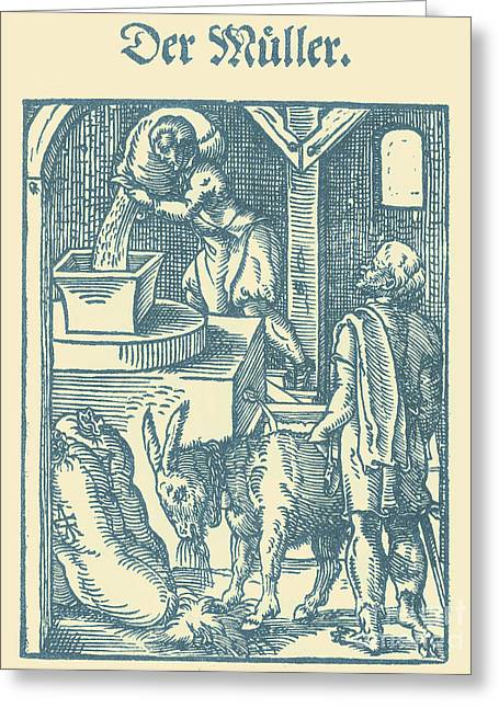 Millstone Greeting Cards - Millers, Medieval Tradesmen Greeting Card by Science Source