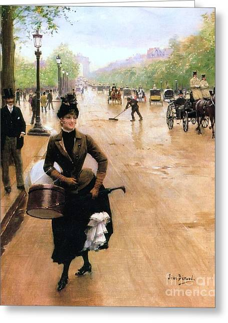 Champs Greeting Cards - Milliner on the Champs Elysees Greeting Card by Pg Reproductions