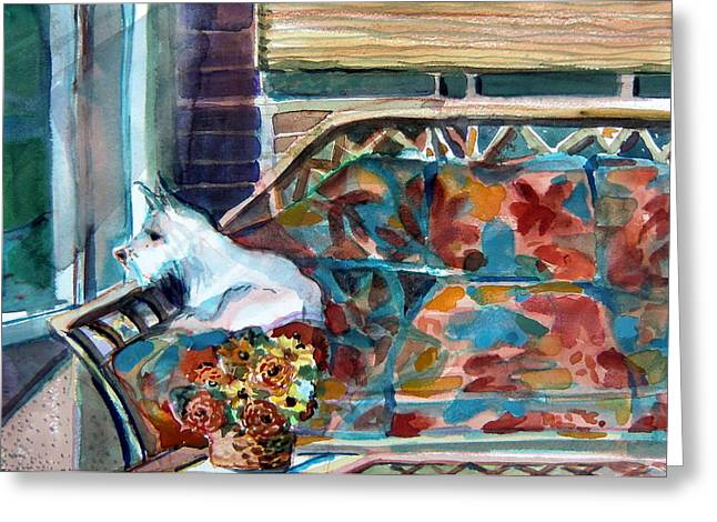 Sun Porches Greeting Cards - Milly has a Rainy Day Greeting Card by Mindy Newman