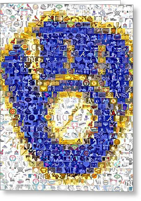 Milwaukee Greeting Cards - Milwaukee Brewers Mosaic Greeting Card by Paul Van Scott